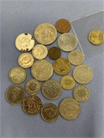 Bag lot of foreign money including Swiss, Mexican,