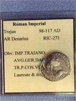 Silver Roman Denarius from reign of Trajan