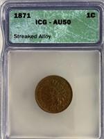1871 Indian head penny AU50 by ICG          (33)