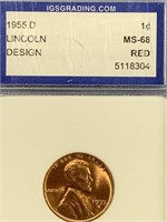 1955 D Lincoln penny red cent, MS68 by IGS