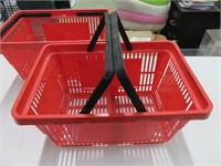 (2) Red Plastic Shopping Baskets