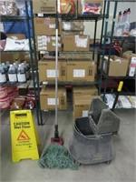 White 4000 Squeegee Mop, Bucket & Floor Sign