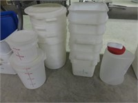 Lot of Asorted Measuring Pails & Totes