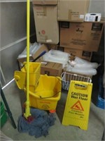 Squeegee Bucket, Mop & Wet Floor Sign