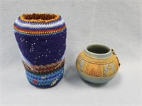 Lot of 2 items, 1 is a small pottery piece with