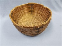 Very old willow root basket with dyed accents,