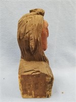 Wood hand carved bust of Native American man by