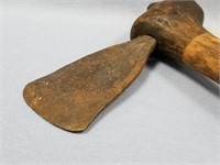 Very old war club with steel hatchet blade, about