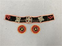Lot of 3: pair of hand beaded rosettes on leather