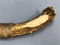 Reproduction obsidian knife with antler handle,