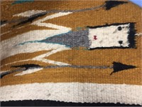 Hand woven wool Navajo horse blanket about 5'