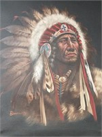 Framed oil painting of a Native American Chief,