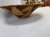 Beautiful old hand woven grass basket 17.5""