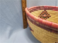 Beautiful Alaskan grass basket with dyed accents