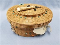 Lidded basket, Legend of the Desert Bighorn,