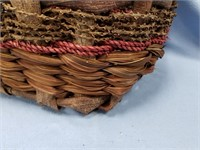 Large woven basket made from palm leaf, tree