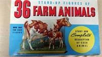 Whitman #5612 Stand up 36 farm animals set w/box