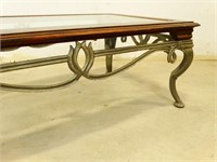 Iron/Wood/Glass Coffee Table