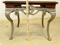 Iron/Wood/Glass Side Table
