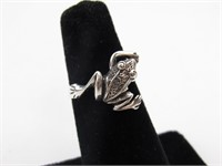 Sterling Silver Frog Ring, Size 5.25
