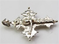 Vintage Sterling Silver & Ruby Crucifix Pendant
