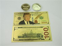 Trump Novelty Gold Colored $100 Bills & Coins (4)