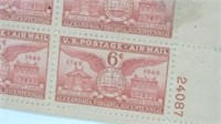 Framed 1949 Air Mail Postage Plate Block