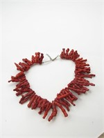 "Red Coral ""Chili"" Bead Necklace Strand"