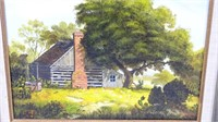 Oil-on-Canvas Framed Country House Artwork