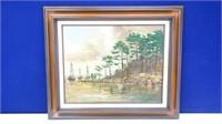 Oil-on-Canvas Swampy Oil Field Artwork