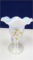 Fenton Purple/White Carnival Glass Flower Vase