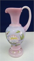 "Fenton ""Heart Mouth"" Hand Painted Water Pitcher"