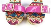 Bamboo Wedge Heels w/ Pink Suede Heels Size 10