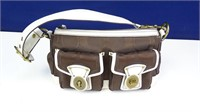 Brown Canvas Coach Bag w/ White Leather Accents