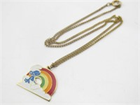 Smurf w/ Rainbow Pendant Necklace