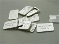 .999 Fine Silver 1g Bars: American Flag (10)