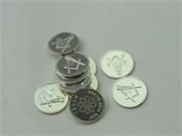 .999 Fine Silver 1g Rounds: Freemason (10)