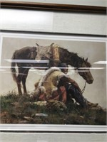 Howard Terpning triple matted and framed print,