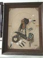 Eagle Dreamer colored sand and glass art, signed