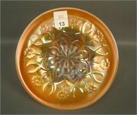 "Dugan Dk Peach Opal Wishbone & Spades 6 1/4"" Plate"