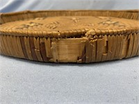 "Old woven tray of Salish origin, about 16"" diamete"