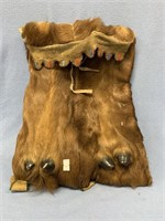 Interesting leather bag made from deer leg, with d