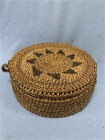 Hand made lidded basket with interesting hand made