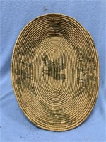 "Old hand woven tray, 11.25"" long            (P 1)"
