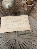 Old sewing basket made from Indian sea grass with