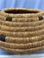 Old hand woven basket with black cotton accents, t