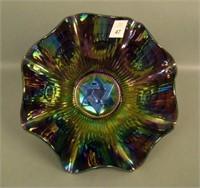 Imperial Elec. Purple Star of David Ruffled Bowl