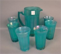 IMPERIAL TEAL STRETCH CHESTERFIELD 7 PC WATER SET