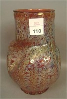 DUGAN RED FRIT PINCHED VASE