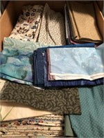 Six large banker's boxes of material/fabric